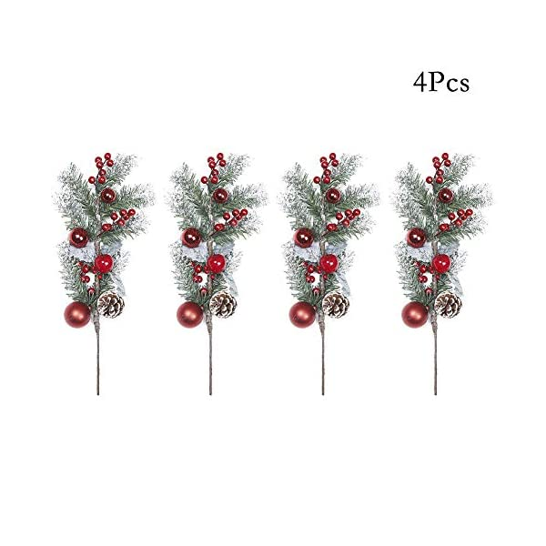4Pcs Pine Snowy Flower Picks,Snow Flocked Holly Christmas red Berry Pinecone Ball Stem,Faux Berry Spray Sprigs Twigs,Artificial Fruit Plant Flower for Christmas Tree, Crafts, Holiday, Home Decor-19in