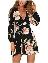 Women Floral Print Sleeve Sexy Deep V-Neck Tunic Top Casual Mini Dress