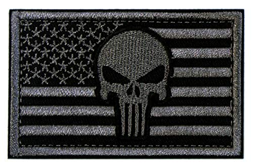 Tactical Patches of USA US American Flag with Punisher Skull, with Hook and Loop for Backpacks Caps Hats Jackets Pants, Military Army Uniform Emblems, Size 3x2 Inches