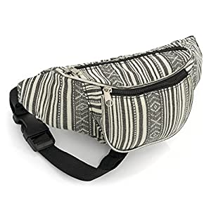 Black and White Stripe Bum Bag Fanny Pack Festivals Holiday Wear | DeHippies.com