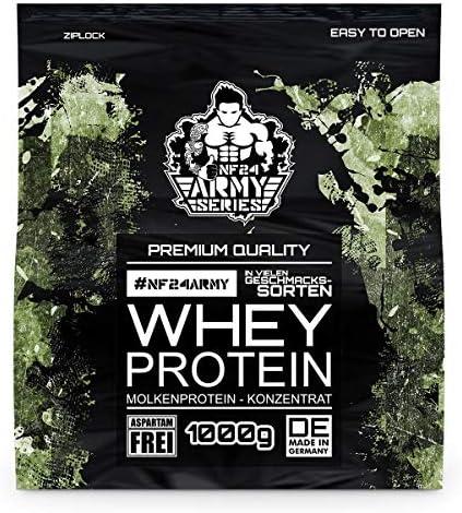 Whey Protein Vanille 1kg Pulver (1000g) - NF24ARMY | 100% hochwertiges Molkenprotein-Eiweißpulver (WPC 80 Konzentrat...