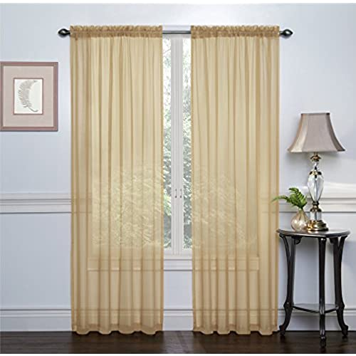 GoodGram 2 Pack Ultra Luxurious High Thread Rod Pocket Sheer Voile Window Curtains By Assorted Colors Gold