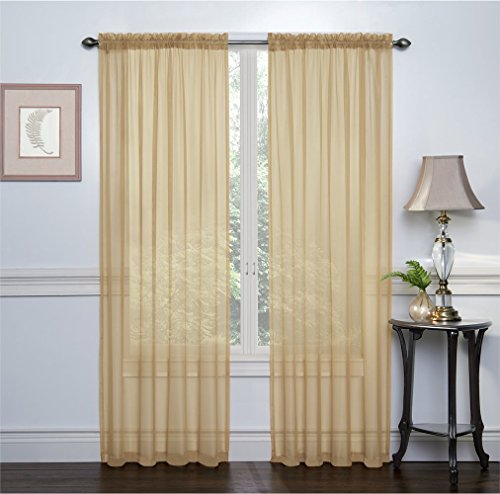 2 Pack: Ultra Luxurious High Thread Rod Pocket Sheer Voile Window Curtains by GoodGram - Assorted Colors (Gold)