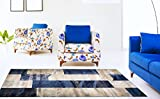 Adgo Atlantic Collection Modern Abstract Geometric Soft Pile Contemporary Carpet Thick Plush Stain Fade Resistant Easy Clean Bedroom Living Room Floor Rug (6' x 9', 6247A - Navy Beige)