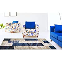 Adgo Atlantic Collection Modern Abstract Geometric Soft Pile Contemporary Carpet Thick Plush Stain Fade Resistant Easy Clean Bedroom Living Room Floor Rug (6 x 9, 6247A - Navy Beige)