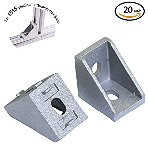 Boeray 20pcs 2 Hole Inside Corner Angle Bracket Gusset for Aluminum Extrusion Profile with Slot 6mm for 3D Printer by Boeray