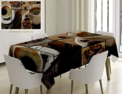Unique Custom Cotton And Linen Blend Tablecloth Brown Coffee Themed Collage Close Up Mugs Beans On Wooden Table Aromatic Roasted Espresso Drink BrownTablecovers For Rectangle Tables, 60 x 40 -