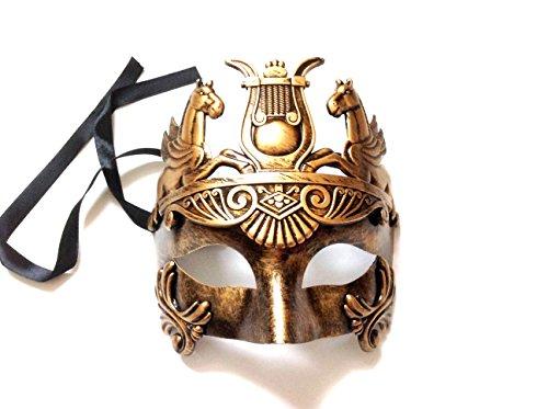[Mens Roman Gladiator Thor Mask Venetian Horse Metallic Gold Party Mask] (Venetian Carnival Masks)