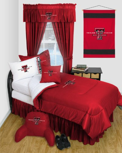 Texas Tech Red Raiders 8 Pc FULL Comforter Set - Locker Room Series - Entire Set Includes: (1 Comforter, 1 Flat Sheet, 1 Fitted Sheet, 2 Pillow Cases, 2 Shams, 1 Bedskirt) SAVE BIG ON BUNDLING! (Room Raiders Locker Comforter)