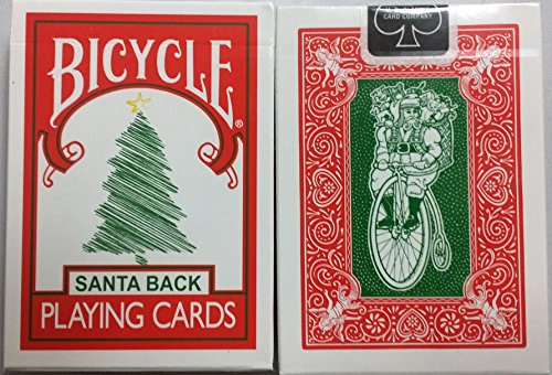 Bicycle 225 Red Deck Green Santa Maiden Back Playing ()