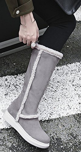 Calf Easemax Heels Zipper Toe Side Round Grey Wedge Boots Women's Suede Dressy Mid Faux Low 7pwK0rv7qc