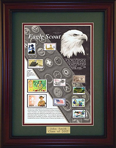 Eagle Scout - Unique Framed Collectible (A Great Gift Idea) with Personalized Engraved Plate by American Stamp Art by Creative Framing