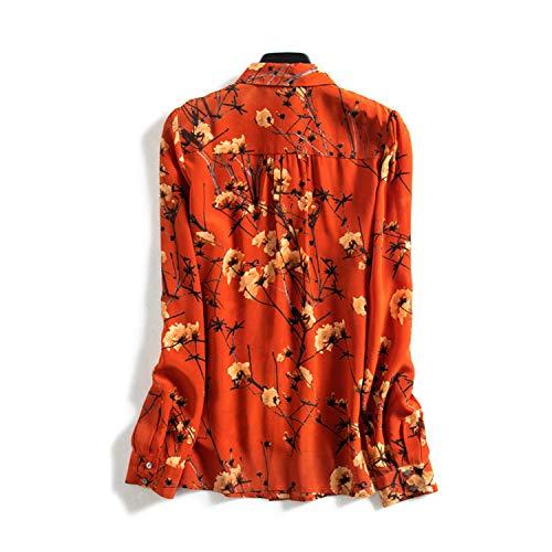 Estampado Con Lazo Encanto Naranja Camisa Largas Mujer Xcxdx Para Moda De Seda Blusa Top Mangas n01qE6