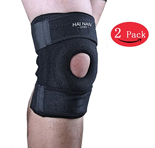 Knee Brace Support Sleeve for Arthritis, Meniscus Tear, ACL, Running, Basketball, Sports, Athletic, MCL, Runners - Adjustable Open Patella StabilizerProtector Wrap to Relieve Pain Injury Recovery by Hainan