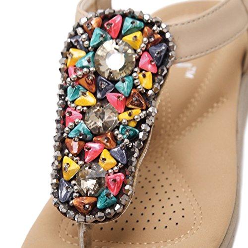 Thong D2C Beauty apricot Rhinestone Strap Sandals T Flat Slingback Women's Beads 4FFZqO0w