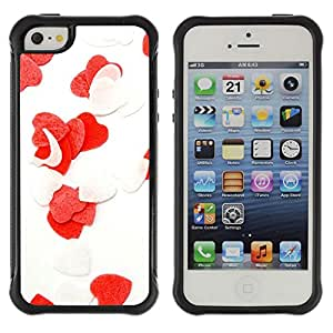 Pulsar Defender Series Tpu silicona Carcasa Funda Case para Apple iPhone 5 / iPhone 5S , Love Flowers Heart