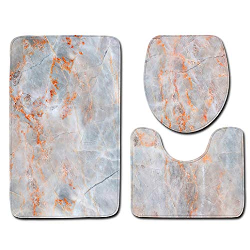 3pcs Non-Slip Shower Bath Mat Bathroom Tub Kitchen Carpet Absorption Rugs Marble Pattern Toilet U-Shaped