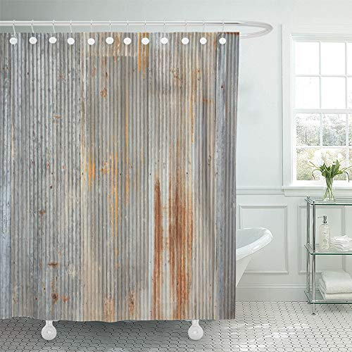 Emvency Shower Curtain Waterproof Polyester Decorative Collection 72 x 78 inches Gray Iron Rusty and Weathered Looking Piece of Corrugated Metal Old Sheet Rustic Set with Hooks Bathroom