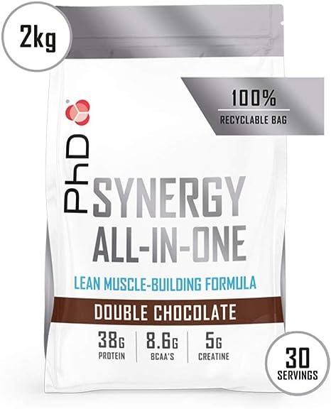 PhD Nutrition Synergy ISO-7, Proteína de suero, Complejo Alto en Proteínas 40g, para Bebida de Pre/Post Entrenamiento Sabor Doble Chocolate (2kg)
