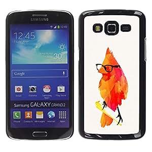 EJOY---Cubierta de la caja de protección la piel dura para el ** Samsung Galaxy Grand 2 ** --pájaro rojo