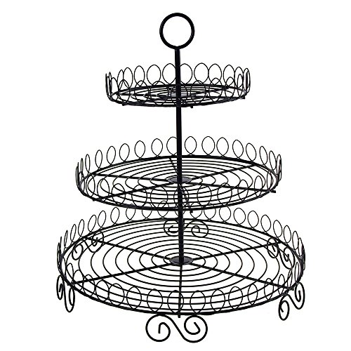 Homeford Firefly Imports Round Metal Wire Cupcake Holder, 3 Tier, 13-Inch, Black