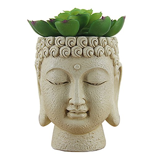 Windowsill Planter,Buddha Planter Pot for Herb,The Talking Fruit Decorative Succulent Planter- 4 Inch,Vintage,Hand Painted,Small Buddha Plant,Home (Buddha Garden)