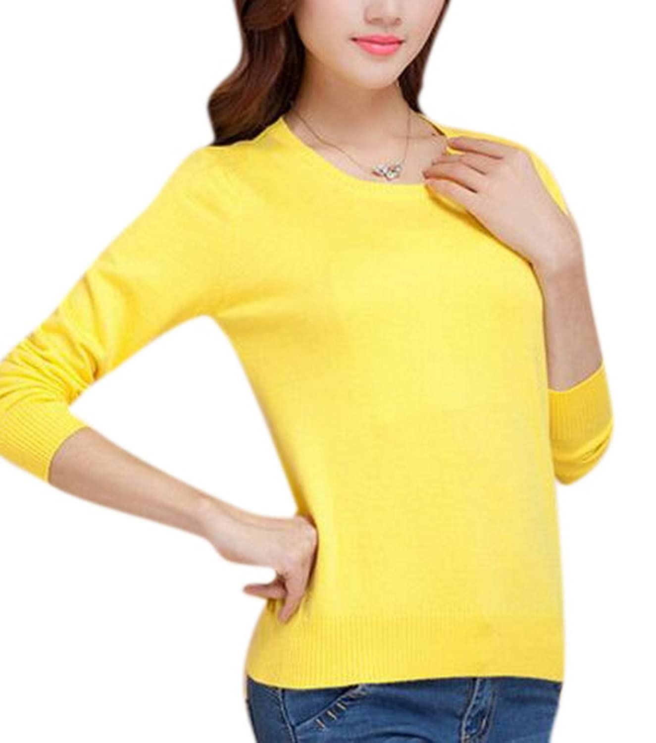 Lingswallow Women Casual Crew Neck Wool-Blend Knit Pullover Sweater Shirt