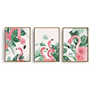 Hepix 3 Pieces Canvas Wall Art Tropical Outdoor Flamingo Artwork Prints Framed Ready to Hang for Home Decoration