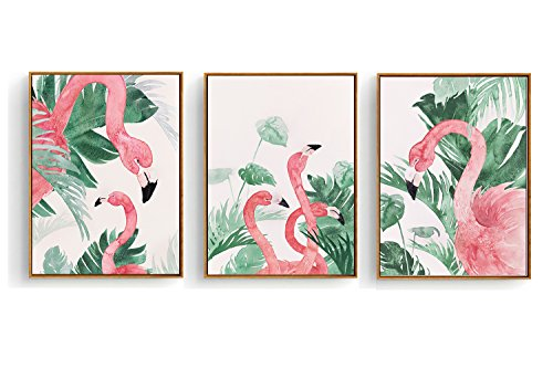 Hepix 3 Pieces Canvas Wall Art Tropical Outdoor Flamingo Artwork Prints Framed Ready to Hang for Home Decoration 13