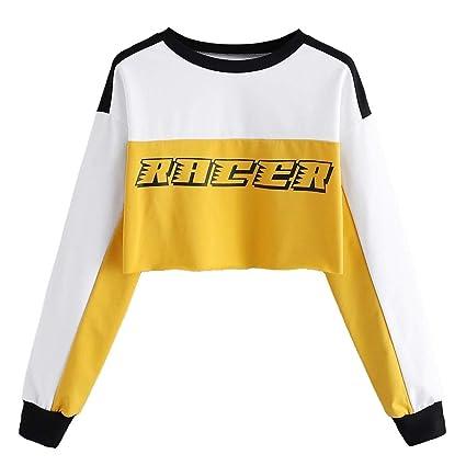 ZJSWCP Sudadera Camiseta de Manga Larga de Las Mujeres de impresión de Letras Ocasionales Bloque de