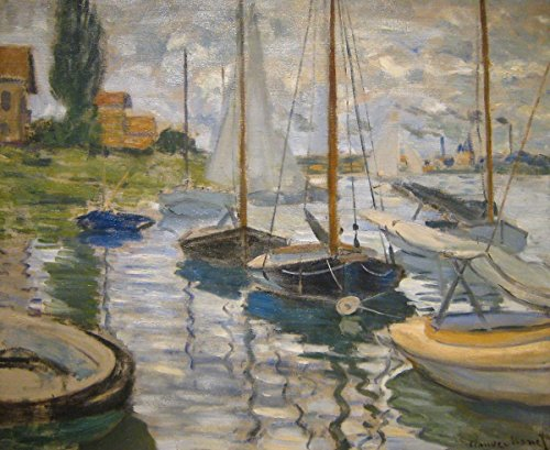 Wall Art Impressions Quality Prints - Laminated 27x22 Vibrant Durable Photo Poster - Claude Monet - Monet, Sailboats on The Seine, 1874 (Monet Sailboats)