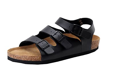 c4c277e2cbe3 ME-DV Women s Adjustable Buckle Cork Sole Roman Sandals Black 35EU