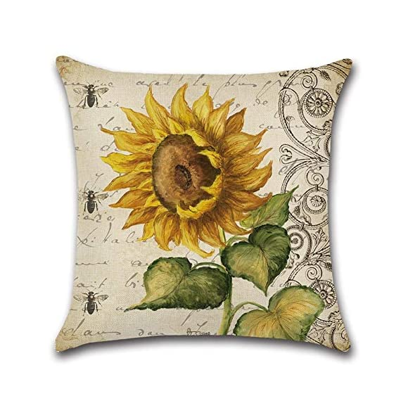 PSDWETS Home Decor Summer Style Sunflower Decorative Outdoor Throw Pillow Covers Set of 4 Cotton Linen Yellow Cushion Covers Pillow Case for Sofa,Car,Bed,Couch,18 x 18 - Material:High quality,Cotton linen Size:Approx 18x18 inch,45 x 45 cm Only have pillow covers,Inserts are not included - patio, outdoor-throw-pillows, outdoor-decor - 51iWY0ek8vL. SS570  -