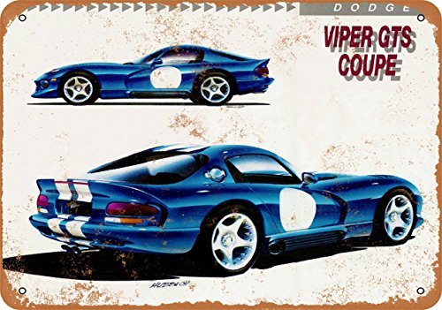 Wall-Color 7 x 10 Metal Sign - 1993 Dodge Viper GTS Coupe - Vintage Look
