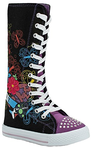 Girls Purple Fashion Punk Sneakers Butterfly Floral Pattern Sequins Lace-up Zip High Top Canvas Boots-4 -