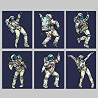 Dancing Astronauts Space Wall Prints - 6 Unframed 8x10 Artwork For Children