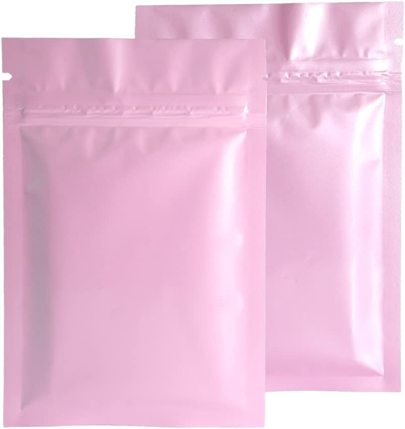 Double-Sided Glossy Pink Flat Foil Zip Top Sample Food Safe Packaging Powdered Storage Bags (0.3oz, Glossy Pink)