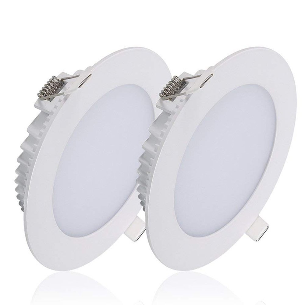 B-right Pack of 2 Units 18W 6-inch Dimmable LED Panel Light, 1200lm 5000K Cool White Ceiling Light Fixture, Bottom Glow Super Bright