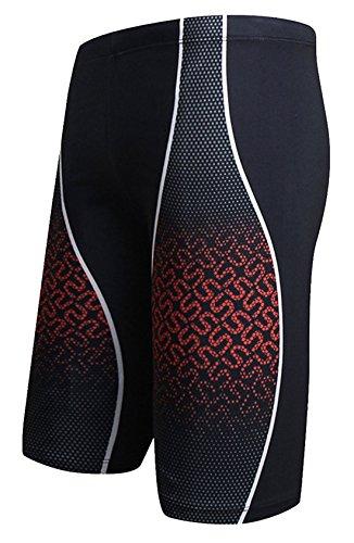 Pattern Beachwear - AIEOE Mens Beachwear Board Shorts Side Flash Pattern Quick Dry Swim Trunks Red L
