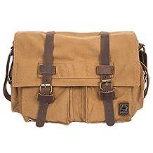 Vintage Canvas DSLR SLR Camera Messenger Bag, UBORSE Leather Shoulder Bag Laptop Bag for Men and Women, Yellow