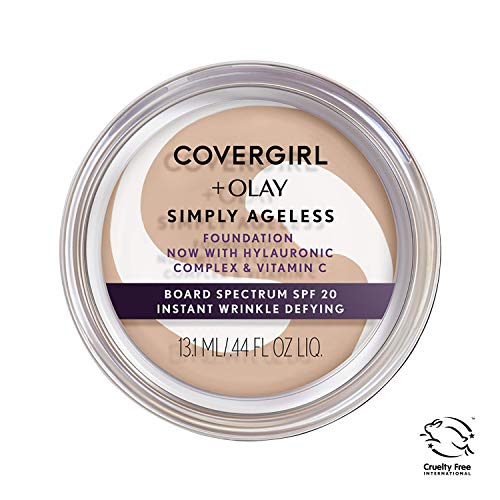 COVERGIRL & OLAY Simply Ageless Instant Wrinkle Defying Foundation, Creamy Beige, 0.4 oz (Packaging May Vary)