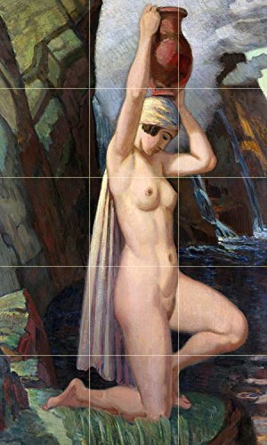 Tile Mural Water Carrier by Ludwig von Hofmann girl woman nude waterfall jug jar Kitchen Bathroom Shower Wall Backsplash Splashback 3x5 4.25'' Ceramic, Matte by FlekmanArt