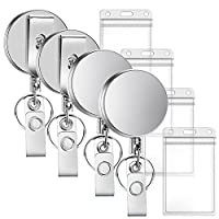 Selizo 5 Packs Metal Retractable Badge Reels with ID Badge Holders Heavy Duty Keycard Holder with Key Chain Belt Clip (4Pcs Badge Holder)