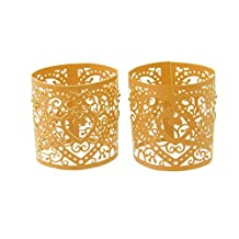 Paper Heart LED Tea Light Holders Wedding Home Party Decoration Pack of 6 - Gold