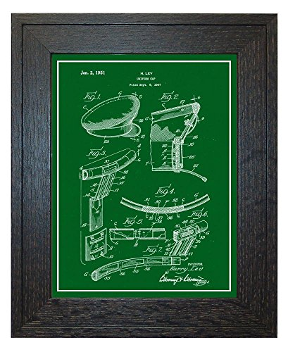 Uniform Cap Patent Art Green Print with a Border in a Rustic
