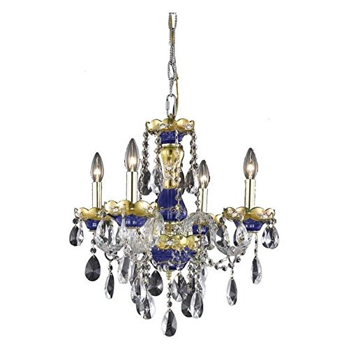 Elegant Lighting 7810D19BE/EC Cut Clear Crystal Alexandria 4-Light, Single-Tier Crystal Chandelier, Finished in Blue with Clear Crystals - Alexandria 4 Light Chandelier
