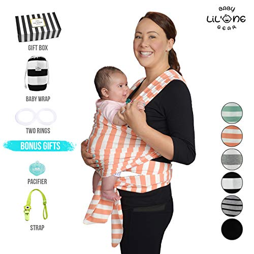 Pattern Sling Infant (Baby Wrap Carrier, Infant Ring Sling, Newborn 0-35lbs Soft Breathable Lightweight Organic Cotton, Stretchy Adjustable All in 1. Bonus Gift Nursing Cover, Postpartum Belt Perfect Baby Shower Gift Pink)