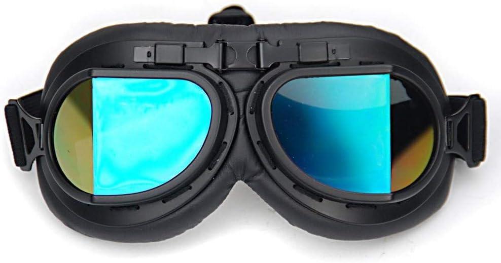 FOXCID WWII Raf Vintage Pilot Motorcycle Biker Cruiser Goggles Color Lens