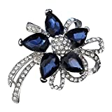 Ailer Fancy Flower Brooches Pin for Women Beautiful Created Crystal Brooch-Blue