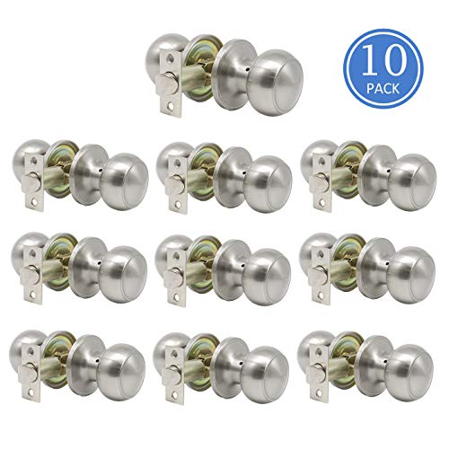 Interior Keyless Hall and Closet Door Knobs Passage Door Sets Flat Ball Brushed Nickel Finish 10 Pack
